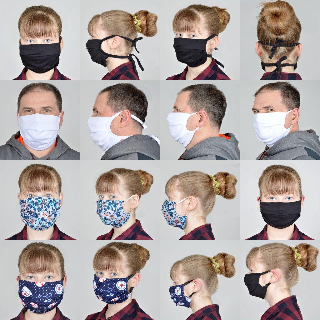 Повязки на лицо на резинках и на завязках